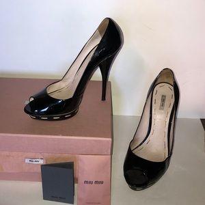Mini Miu Calzature Donna Vernice peep-toe pumps